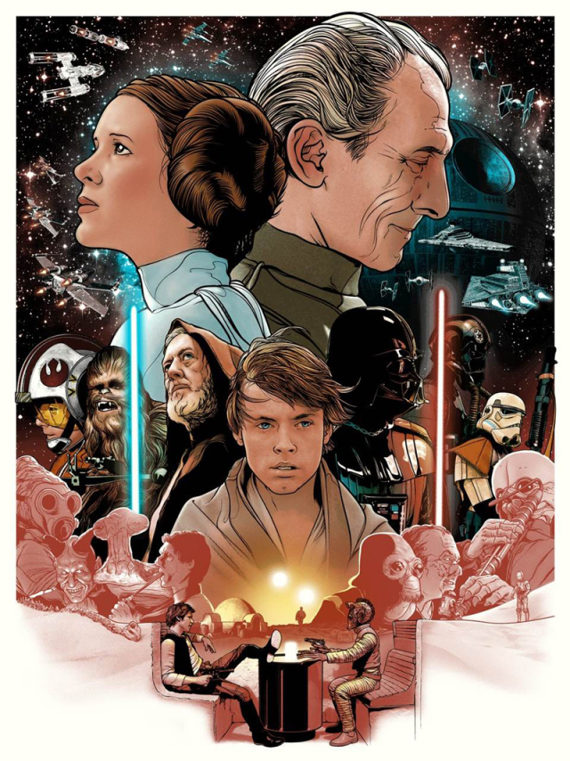 'We're Doomed!' – A New Hope by Joshua Budich 4-colour Screenprint  Printed on French 100lb Madero Beach paper Signed and numbered  18″ x 24″  Edition of 100
