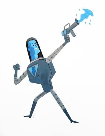 """Mr. Freeze by Israel Sanchez Gouache 8"""" x 10"""" $100"""