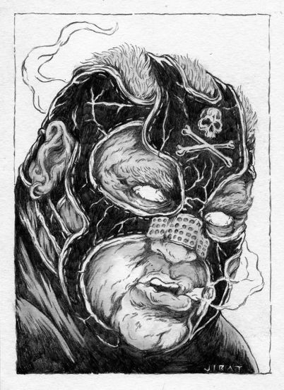 """Guest Starring Vader as Bane by James Jirat Patradoon Pencil on paper 7"""" x 10"""" $500"""