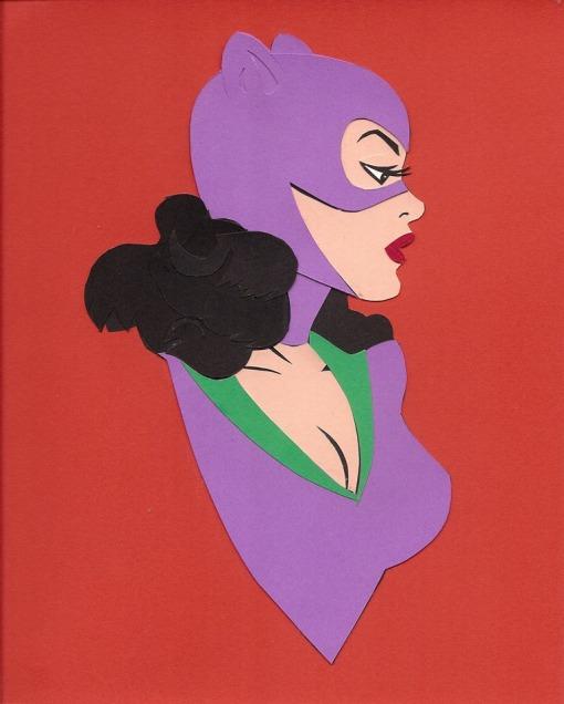 "Catwoman by John Rozum Cut paper 8"" x 10"" (10.5"" x 12.5"" w/ frame) $100"
