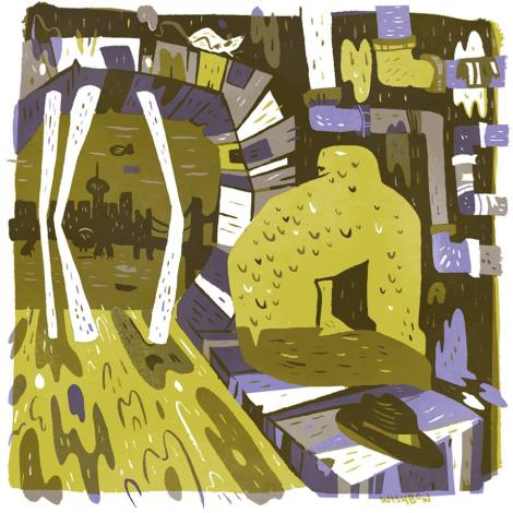 """In The Sewers by Pam Wishbow Giclée print mounted on board 8"""" x 8"""" $(TBD)"""