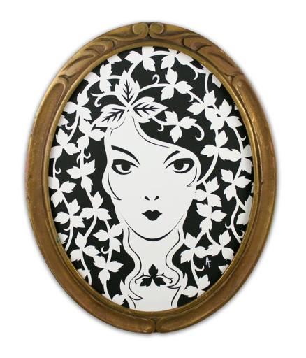 "Poison Ivy by Ashley Fisher Cut paper, antique frame 8"" x 10"" $200"