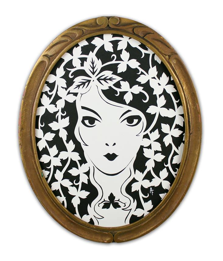 """Poison Ivy by Ashley Fisher Cut paper, antique frame 8"""" x 10"""" $200"""