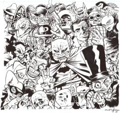 """The Moment Before Batman Kicked Everyone's Ass by Andy Fish Japanese india ink and brush 10"""" x 10"""" $200"""