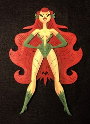 "Poison Ivy by Robot Soda Lasercut wood, acrylics 6.4"" x 9.2"" $250"