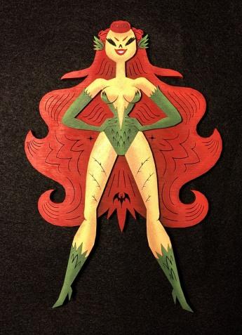 "Poison Ivy by Robot Soda Lasercut wood, acrylics 6.4"" x 9.2"" $250"