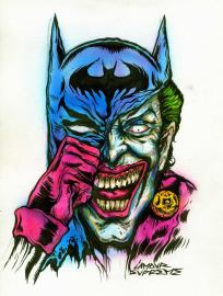 """Jokebat Portrait by L'Amour Supreme Ink and acrylics 8"""" x 11"""" $600"""