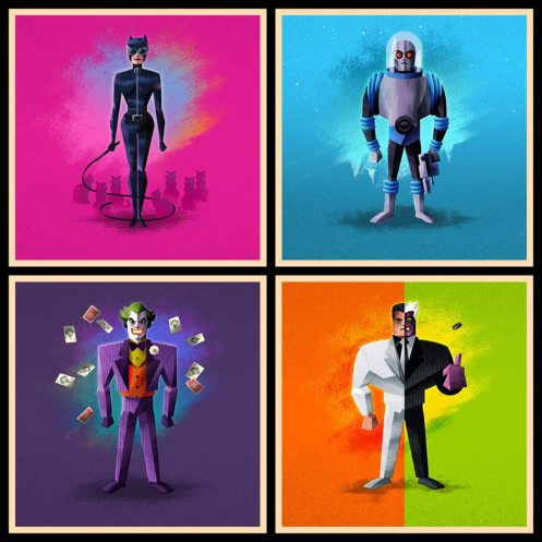 """StarKade: Rogues by James White Prints on Museo Textured Rag 285 gsm Limited edition of 50 sets, 24 available. Each set includes all four prints and has a 1 in 5 chance of also including a mystery fifth print. Each print is 5"""" x 5"""" $35 per set"""