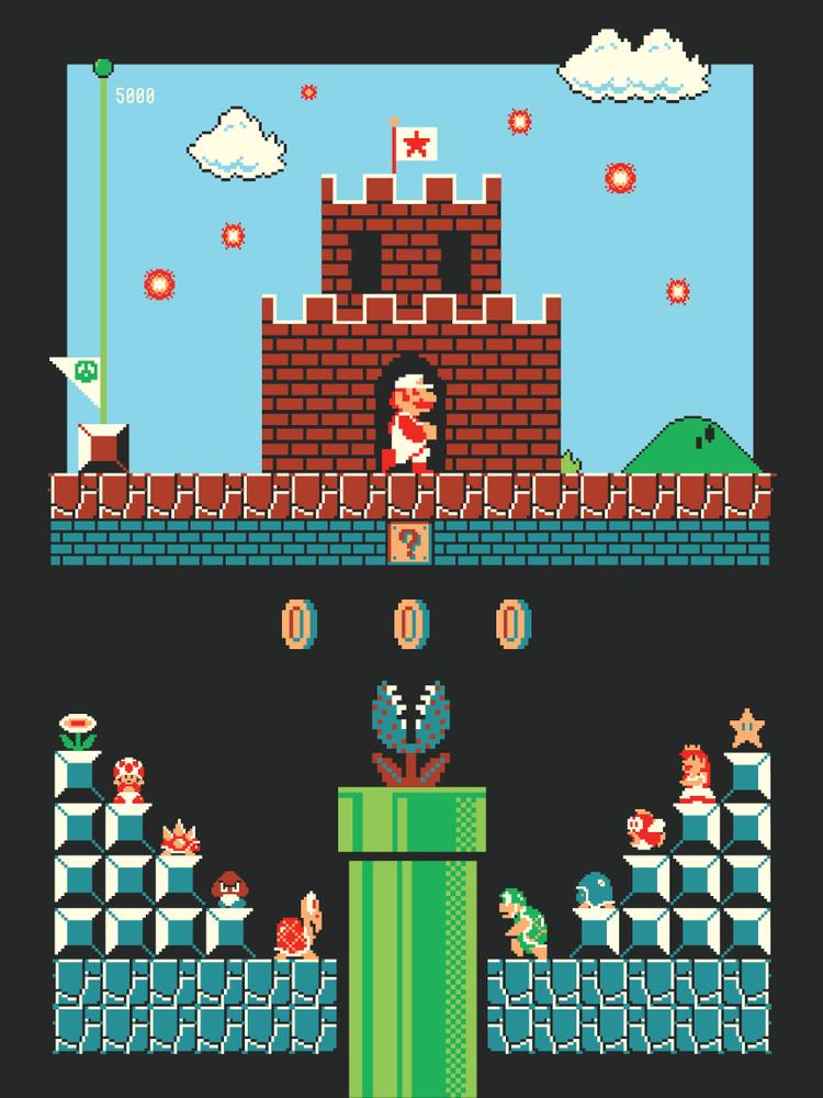 Super Mario Bros Screenprint Harlan Elam