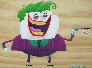 "Joker by Alex Leighton Acrylic paints on timber 7.5"" x 5.5"" $200"