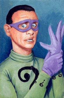 "The Riddler by Jason Chalker Acrylic on illustration board 4"" x 6"" (5.5"" x 7.5"" w/ frame) $250"
