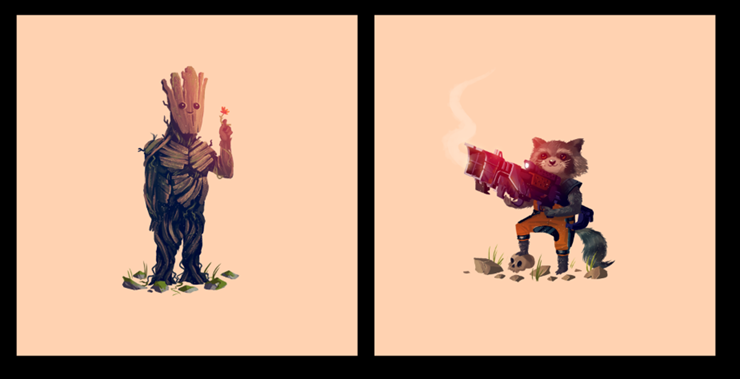 What a Bunch Of A Holes Guardians Of The Galaxy Olly Moss Groot Rocket Raccoon